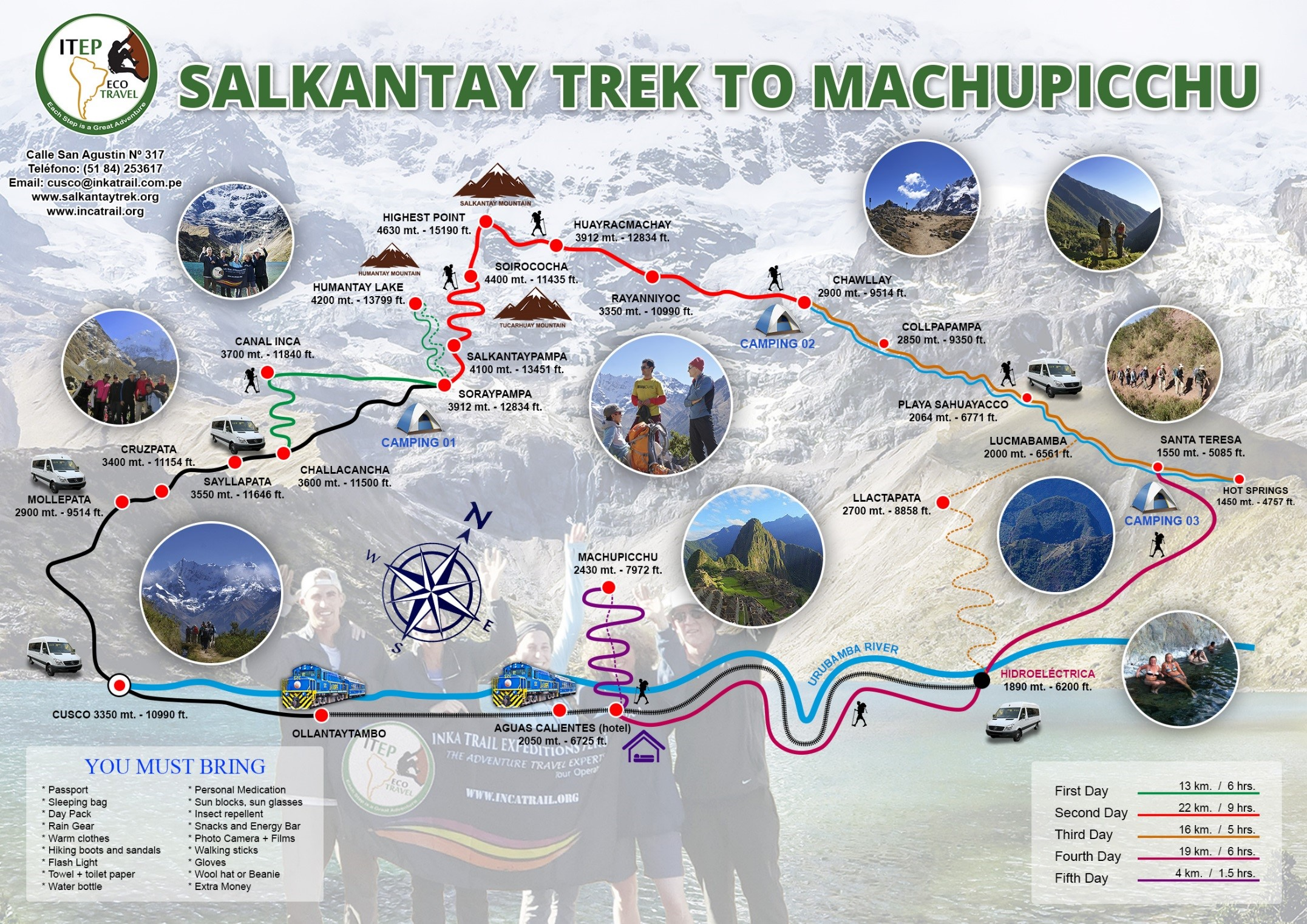 Short Salkantay Trek 4 Days Map